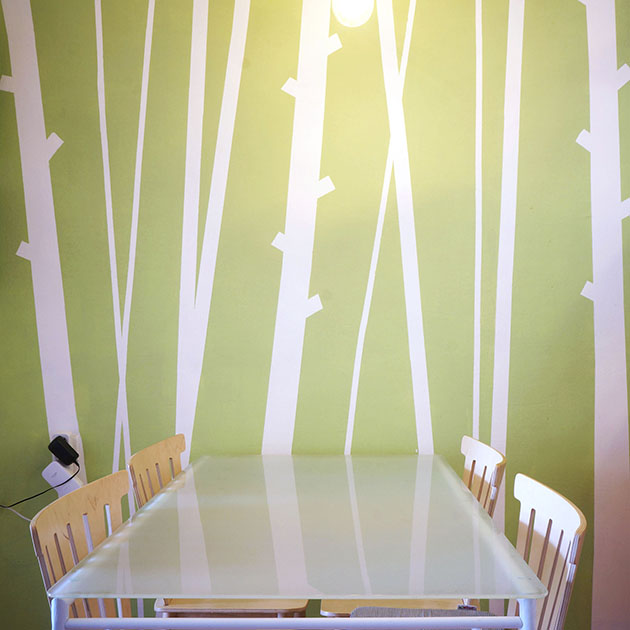 Bamboo accent wall - DIY faux wallpaper home decor project - on a budget