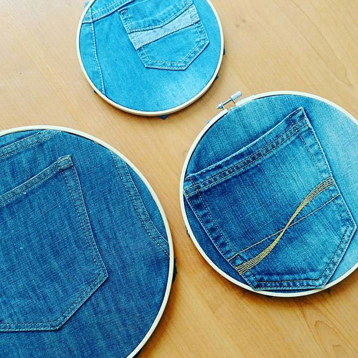 embroidery hoops ring recycled jeans hack