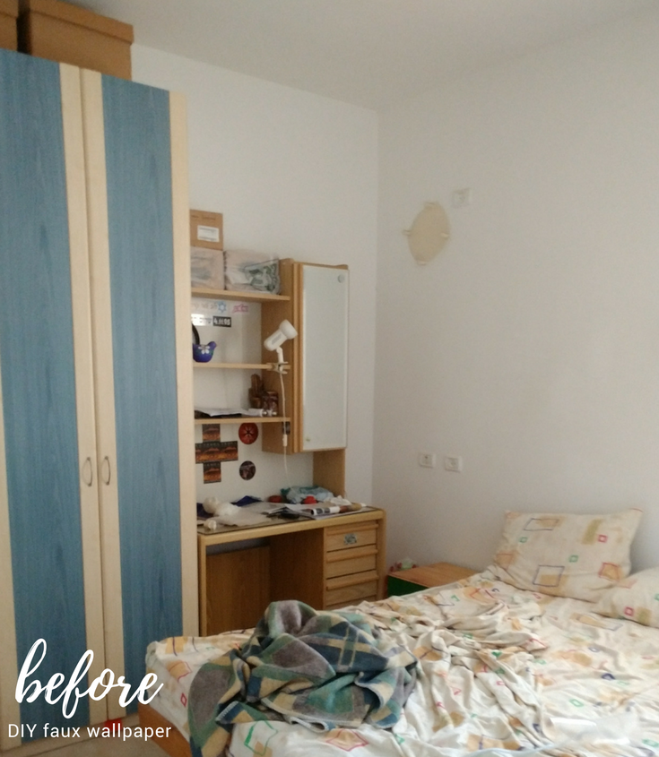 DIY accent wall before and after