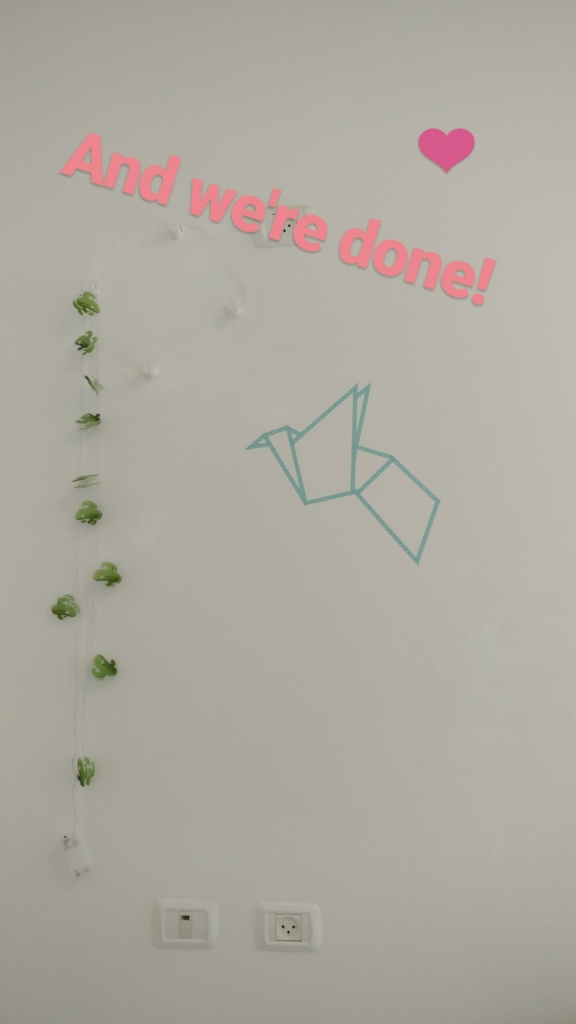 DIY washi tape origami bird wall art