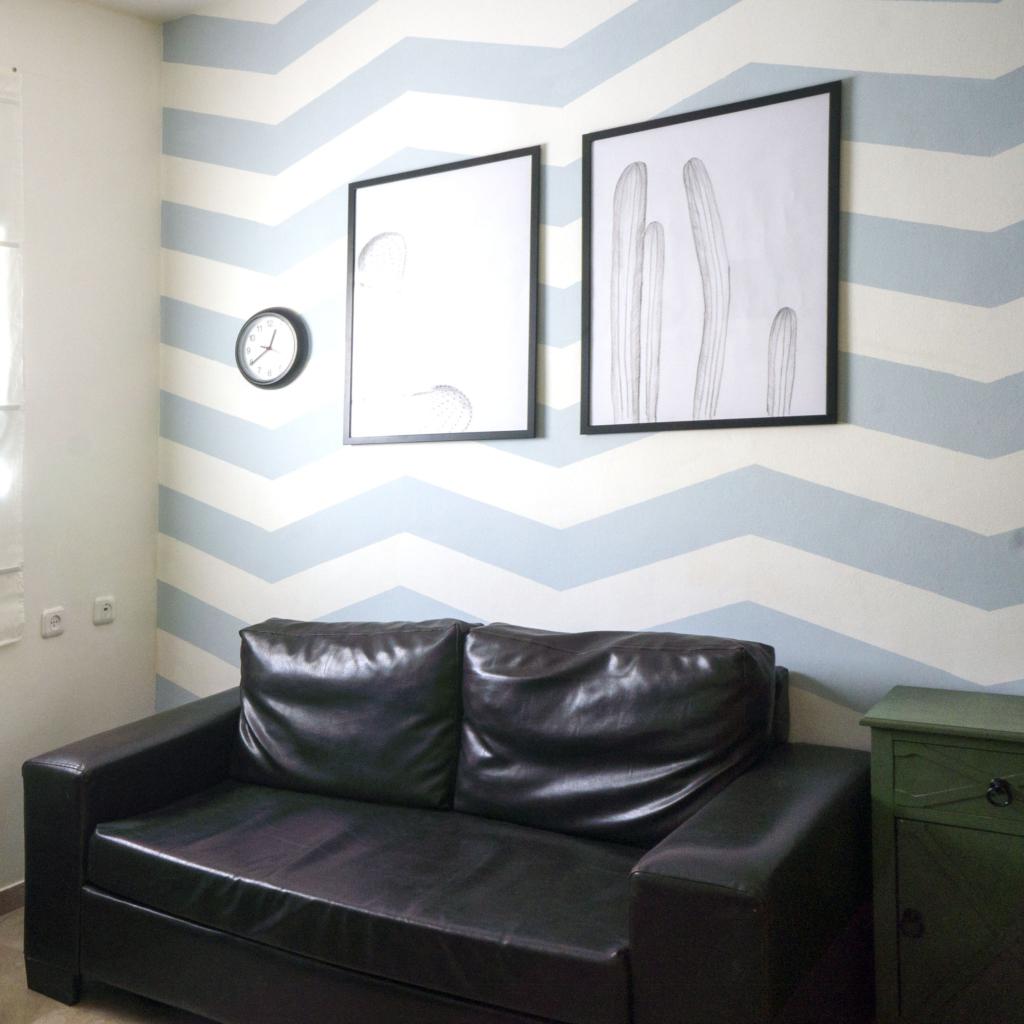 DIY zig zag chevron accent wall