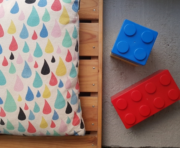 Lego boxes on DIY cement bench