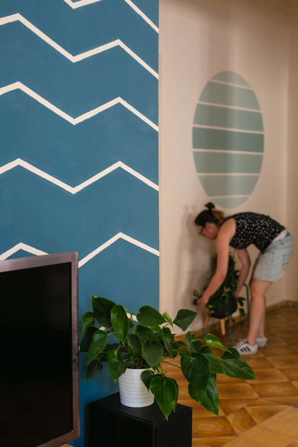 Blue chevron wall DIY